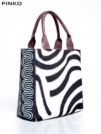 PINKO Ecru torba shopper ze wzorem zebry                                  zdj.                                  2