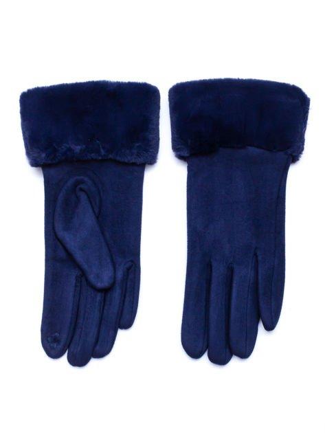 PREMIUM Dotykowe eleganckie zamszowe granatowe rękawiczki damskie