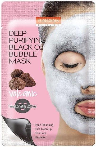 PUREDERM Głęboko oczyszczająca maseczka bąbelkująca (bubble mask) z pyłem wulkanicznym 20 g                              zdj.                              1