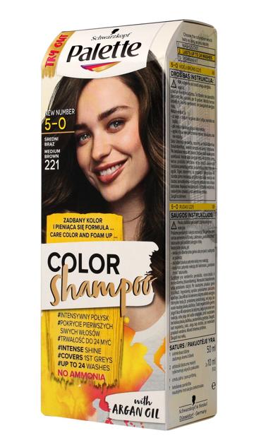 "Palette Color Shampoo Szampon koloryzujący  nr 5-0 (221) Średni Brąz  1op."""