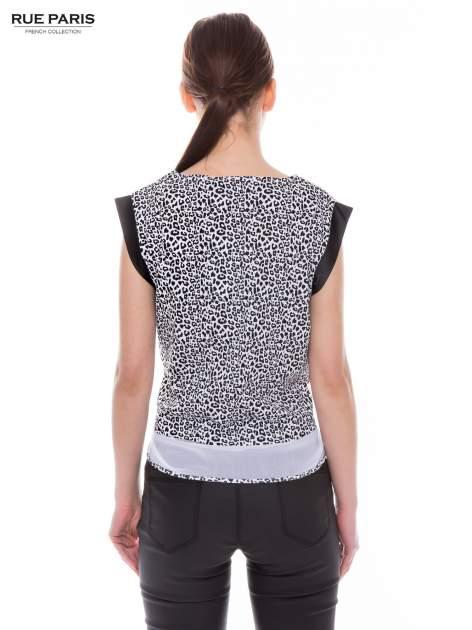 Panterkowy t-shirt ze skórzanymi rękawami i siateczkowym dołem                                  zdj.                                  4