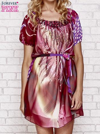 Patchworkowa sukienka mgiełka z paskiem i aplikacją                                  zdj.                                  1