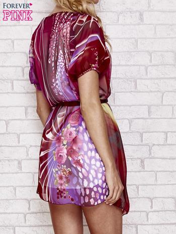 Patchworkowa sukienka mgiełka z paskiem i aplikacją                                  zdj.                                  2