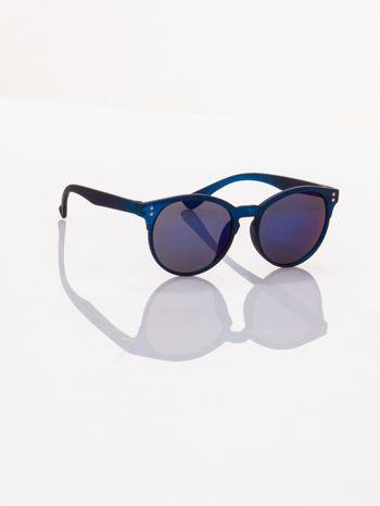 Piękne granatowe okulary przeciwsłoneczne w stylu vintage lustrzanki                                  zdj.                                  2