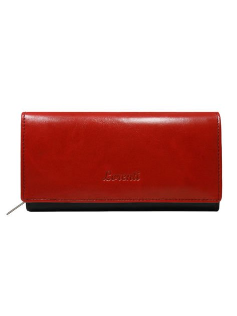 Podłużny skórzany portfel damski czerwono-czarny