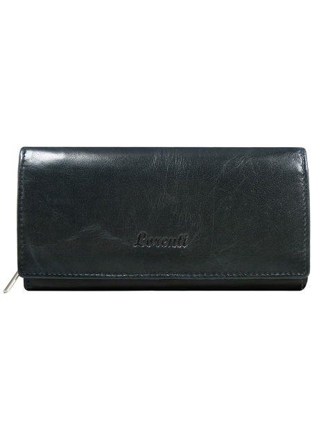 Podłużny skórzany portfel damski granatowy