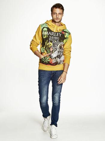 Pomarańczowa bluza męska z kapturem z nadrukiem reggae                                  zdj.                                  4
