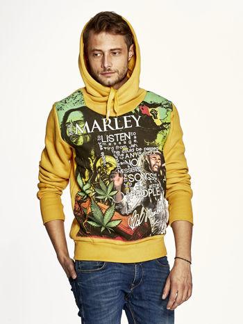 Pomarańczowa bluza męska z kapturem z nadrukiem reggae                                  zdj.                                  5