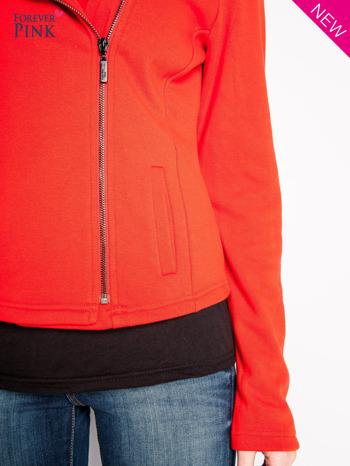 Pomarańczowa bluza o kroju ramoneski z asymetrycznym suwakiem                                  zdj.                                  7