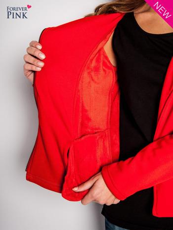 Pomarańczowa bluza o kroju ramoneski z asymetrycznym suwakiem                                  zdj.                                  2