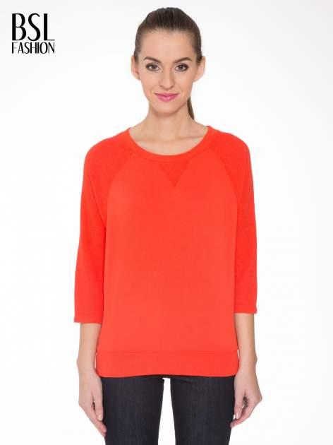 Pomarańczowa bluza oversize z łączonych materiałów                                  zdj.                                  1