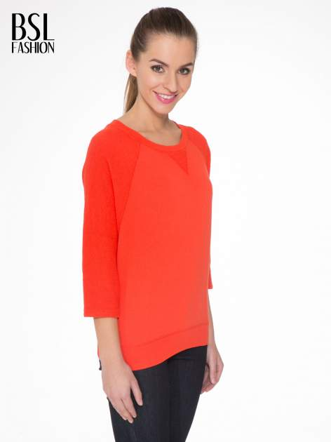 Pomarańczowa bluza oversize z łączonych materiałów                                  zdj.                                  3