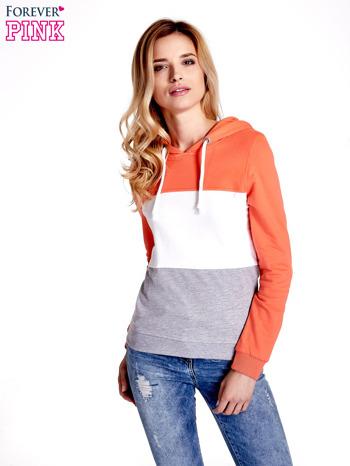 Pomarańczowa bluza z kapturem z białym i szarym wykończeniem                                  zdj.                                  5