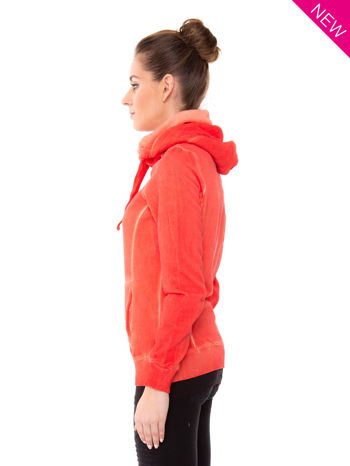Pomarańczowa bluza z kapturem z efektem sprania                                  zdj.                                  3