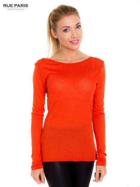 Pomarańczowa bluzka z dekoltem na plecach                                  zdj.                                  1
