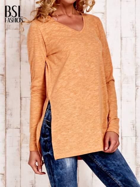 Pomarańczowa bluzka z rozporkami z boku                                  zdj.                                  1