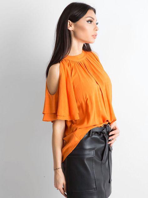 Pomarańczowa bluzka z wycięciami na ramionach                              zdj.                              3