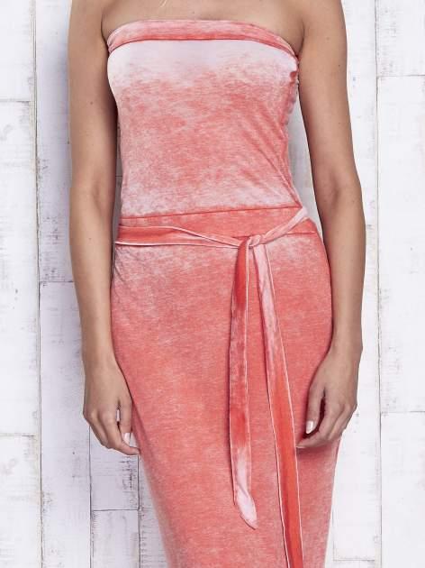Pomarańczowa dekatyzowana sukienka maxi na gumkę                                  zdj.                                  5