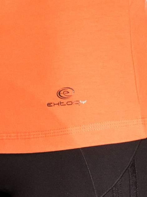 Pomarańczowa gładka bluzka sportowa z dekoltem U PLUS SIZE                                  zdj.                                  4