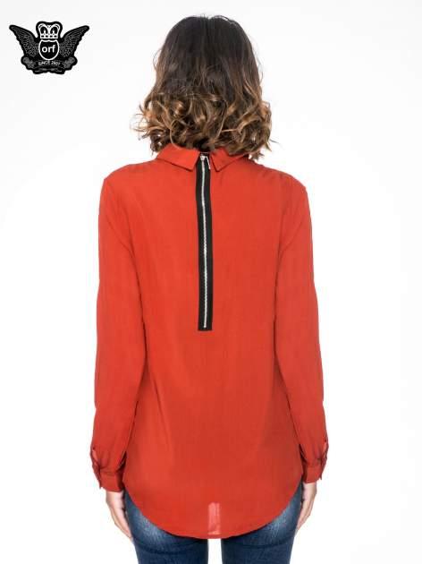 Pomarańczowa koszula damska z zamkiem z tyłu                                  zdj.                                  2