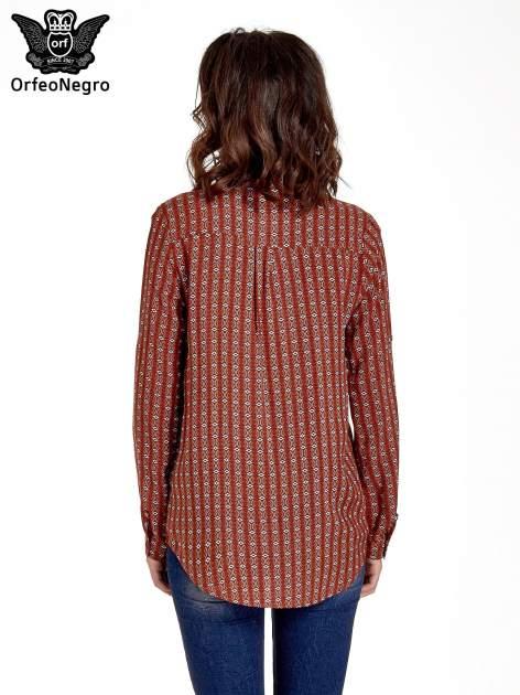 Pomarańczowa koszula w geometryczne wzory                                  zdj.                                  4