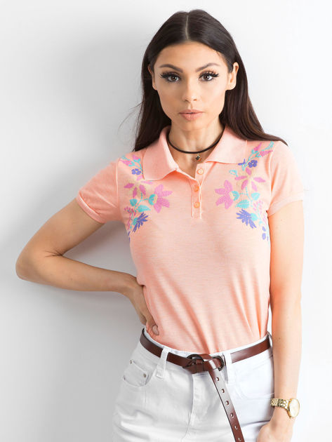 Pomarańczowa koszulka polo w kwiaty                              zdj.                              1