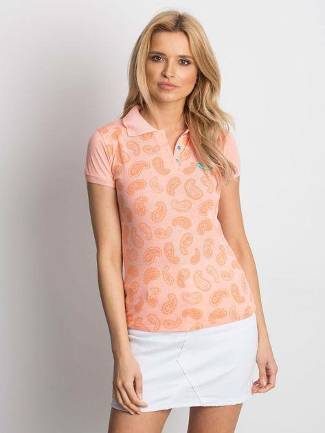 Pomarańczowa koszulka polo z motywem paisley                              zdj.                              1