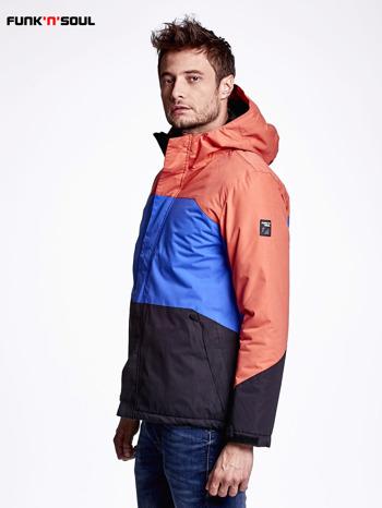 Pomarańczowa kurtka męska z kolorowymi modułami FUNK N SOUL                                  zdj.                                  2