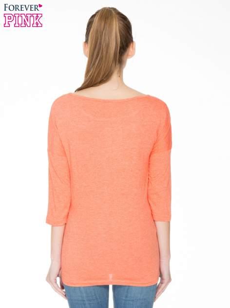 Pomarańczowa luźna bluzka z rękawem 3/4                                  zdj.                                  4