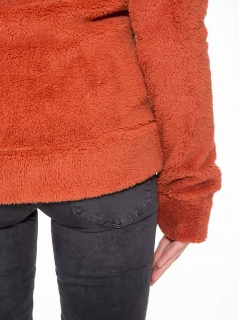 Pomarańczowa polarowa bluza miś z kapturem z uszkami i pomponami                                  zdj.                                  12