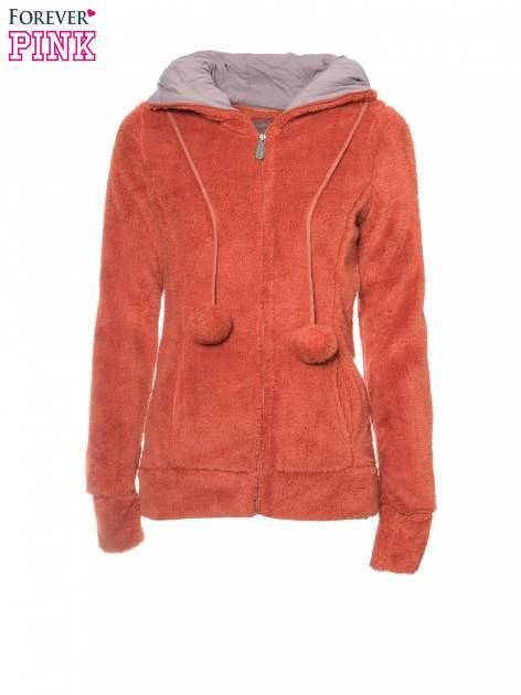 Pomarańczowa polarowa bluza miś z kapturem z uszkami i pomponami                                  zdj.                                  5