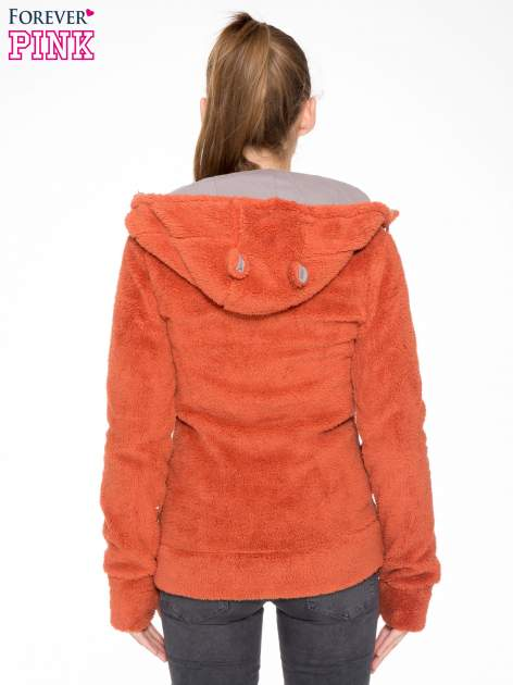 Pomarańczowa polarowa bluza miś z kapturem z uszkami i pomponami                                  zdj.                                  4