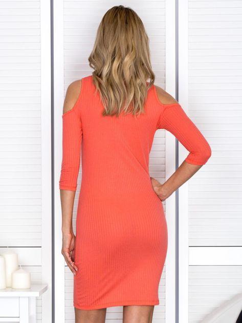Pomarańczowa sukienka cold arms prążkowana                              zdj.                              2