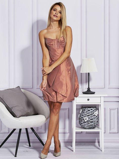 Pomarańczowa sukienka z drapowaniem                                  zdj.                                  4