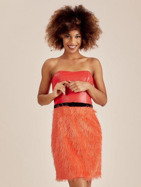 Pomarańczowa sukienka z frędzelkami                               zdj.                              1