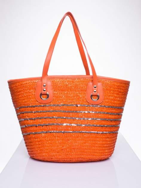 Pomarańczowa torba koszyk plażowy z cekinami                                  zdj.                                  1