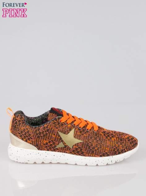 Pomarańczowe buty sportowe dual material Level Up z tweedu