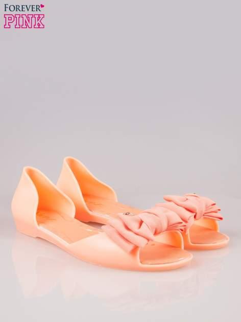 Pomarańczowe gumowe baleriny peep toe z materiałową kokardą                                  zdj.                                  2