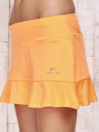 Pomarańczowe spodenki spódniczka tenisowa z falbanką                                  zdj.                                  7