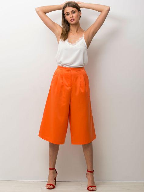 Pomarańczowe spódnicospodnie typu culottes                                  zdj.                                  3