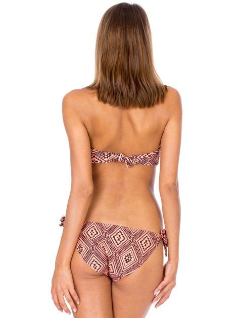Pomarańczowe wiązane bikini Survey w geometryczne wzory                              zdj.                              3