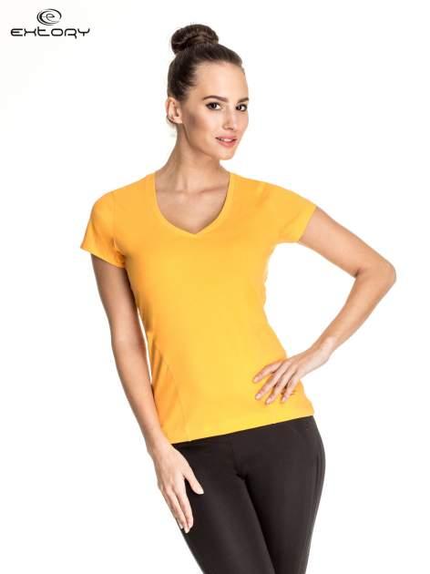 Pomarańczowy damski t-shirt sportowy z dekoltem V PLUS SIZE                                  zdj.                                  1