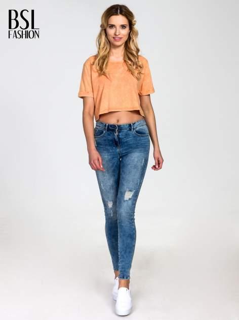 Pomarańczowy dekatyzowany t-shirt cropped                                  zdj.                                  6