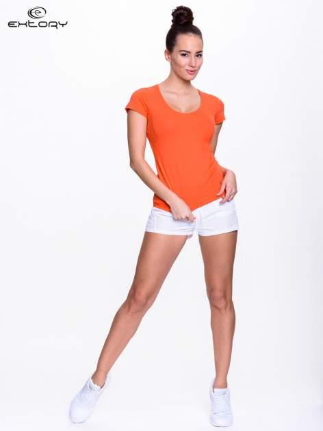 Pomarańczowy jednolity t-shirt sportowy                                  zdj.                                  3