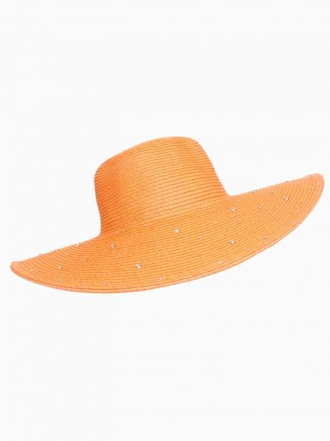 Pomarańczowy kapelusz z dużym rondem i dżetami                                  zdj.                                  4