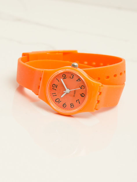 Pomarańczowy mały silikonowy zegarek damski owijany wokół nadgarstka