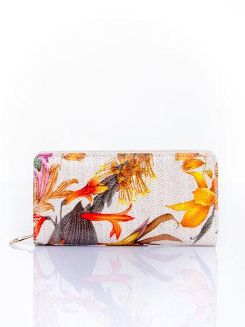 Pomarańczowy portfel z egzotycznym nadrukiem                                  zdj.                                  1