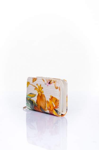Pomarańczowy portfel z kwiatowym nadrukiem                                  zdj.                                  3