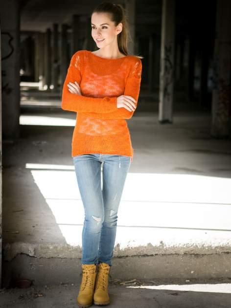 Pomarańczowy sweter z oczkami przy ramionach                                  zdj.                                  11