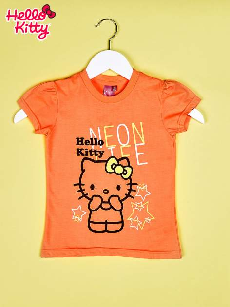 Pomarańczowy t-shirt dla dziewczynki HELLO KITTY z gwiadkami                                  zdj.                                  1